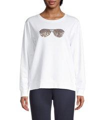 karl lagerfeld paris women's sequin sunglasses sweatshirt - white - size xs