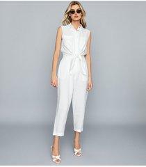 reiss elba - linen jumpsuit in white, womens, size 12