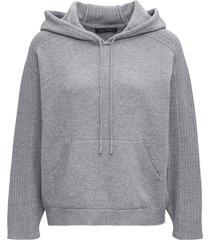 alberta ferretti grey wool and cotton hoodie
