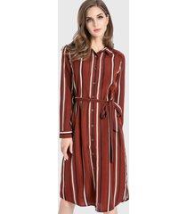 vestido camisero rayas café nicopoly