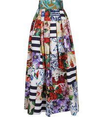 dolce & gabbana flared pleated floral skirt