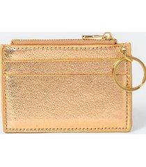 sammy metallic keychain wallet - rose/gold