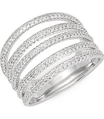 diamond and 14k white gold midi ring