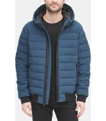 dkny men's quilted hooded bomber jacket