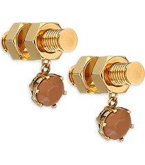 leather nut & bolt drop earrings