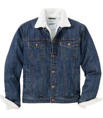 giacca di jeans con fodera effetto peluche (blu) - john baner jeanswear