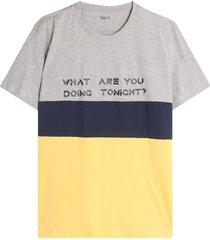 camiseta para hombre en bloques con screen color gris, talla l