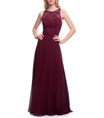 women's #levkoff lace bodice chiffon a-line gown, size 12 - burgundy