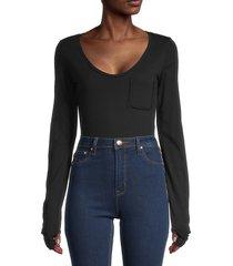 n:philanthropy women's scoopneck cotton bodysuit - black - size xs