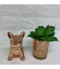 cachorro bulldog e mini vaso rose gold com suculenta - ros㪠- feminino - dafiti
