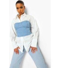 2 -in-1 denim korset met cups en blouse, light blue