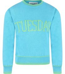 alberta ferretti light blue girl sweater with green writing
