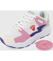 tenis lifestyle blanco-rosa-morado ducati