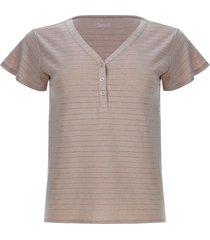 camiseta jaspe con pechera color rosado, talla 10
