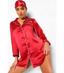 valentijns love you pyjama blouse en slaapmasker set, red