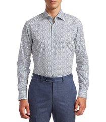 saks fifth avenue men's collection multi-color leaf print shirt - teal - size xl