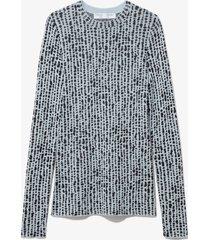 proenza schouler white label inky dot jacquard knit pullover dusty blue/black l