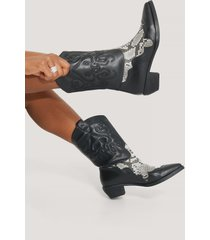 na-kd shoes reptile detailed cowboy boots - black