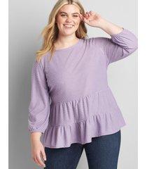 lane bryant women's 3/4-sleeve tiered babydoll top dusk