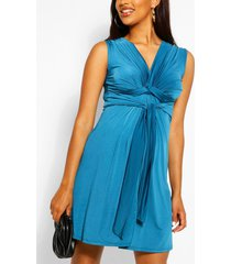maternity knot front mini dress, teal