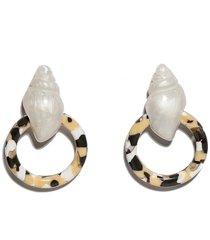 women's lele sadoughi shell button frontal hoop earrings