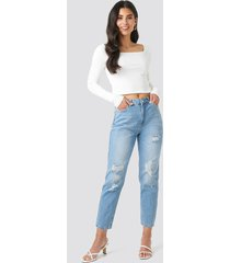 trendyol ripped detailed high waist mom jeans - blue