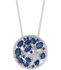 "effy sapphire (3 ct. t.w.) & diamond (1/5 ct. t.w.) starfish 18"" pendant necklace in 14k white gold"