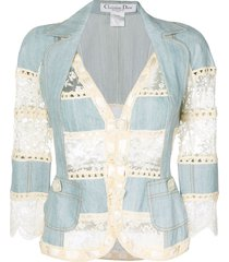 christian dior pre-owned lace and crochet insert jacket - blue