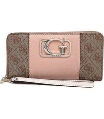 billetera café-palo rosa-dorado guess