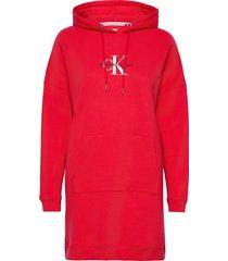 monogram hoodie dress dresses t-shirt dresses röd calvin klein jeans
