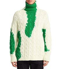 long-sleeve bleach turtleneck sweater