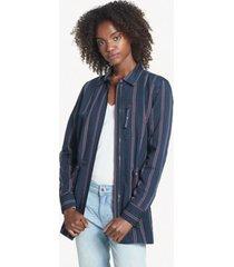 tommy hilfiger women's essential stripe zip shirt jacket navy / red stripe - s