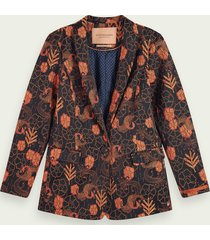 scotch & soda single-breasted gebloemde blazer