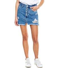 falda high waist con botonadura delantera y rotos color blue
