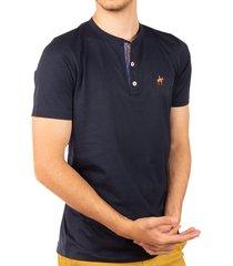 camiseta fondo entero con perilla en contraste azul oscuro ref. 107021119