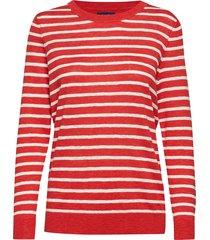d1. breton stripe crew gebreide trui rood gant