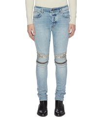 'mx2' bandana knee zip jeans