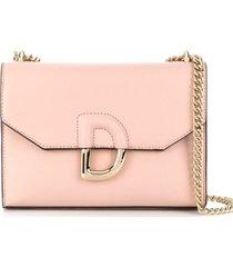 dkny bolsa tiracolo com logo - rosa