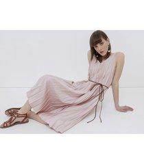 motivi vestito lungo plissè donna rosa