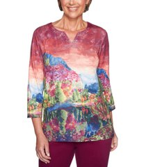 alfred dunner petite autumn harvest scenic-print tunic