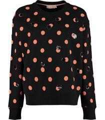 tory burch polka-dot cotton sweatshirt