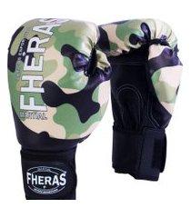 luva boxe muay thai fheras new top camuflado 14 oz .