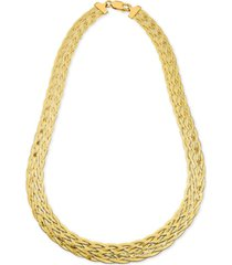 "giani bernini braided chain 18"" statement necklace in 18k gold-plated sterling silver, created for macy's"