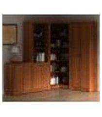 conjunto escritório completo 4 peças cj7 amendoa tecno mobili