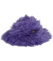 prada fluffy logo plaque hat - purple