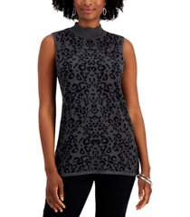 jm collection printed mock-neck sleeveless sweater, created for macy's