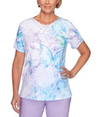 alfred dunner classics butterfly-print lace-trimmed top