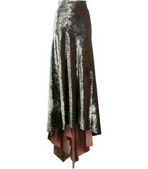 ann demeulemeester long velvet skirt - green