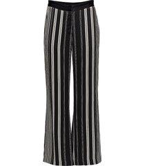 anna stripe pant pantalon met rechte pijpen zwart bruuns bazaar