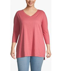 lane bryant women's lane essentials 3/4-sleeve high-low tunic 14/16 baroque rose